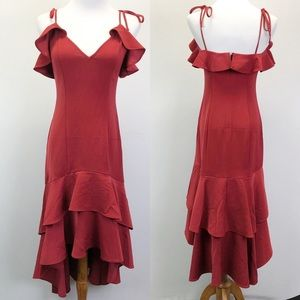 Express High Low Maxi Dress Burgundy Tie Strap